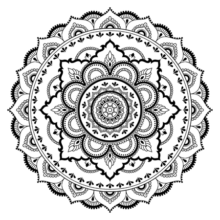 Circular pattern in the form of a mandala. Henna tatoo mandala. Mehndi style. Decorative pattern in oriental style. Coloring book page. Ilustrace