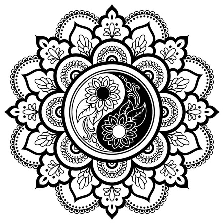 Vector henna tatoo mandala. Yin-yang decorative symbol. Mehndi style. Decorative pattern in oriental style. Coloring book page. Illustration