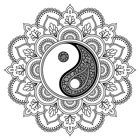 Vector henna tatoo mandala. Yin-yang decorative symbol. Mehndi style. Decorative pattern in oriental style. Coloring book page. Ilustracja
