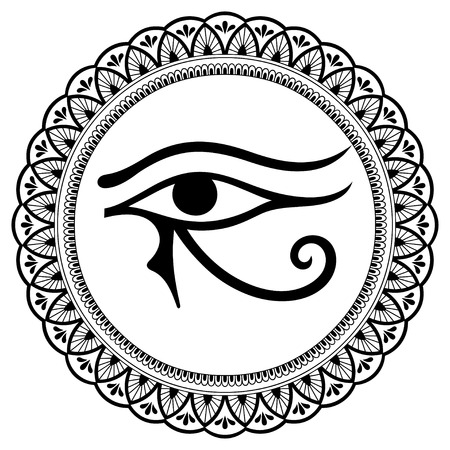 Circular pattern in the form of mandala. The ancient symbol Eye of Horus. Egyptian Moon sign - left Eye of Horus. Mighty Pharaohs amulet. Decorative pattern in oriental style. Ilustração