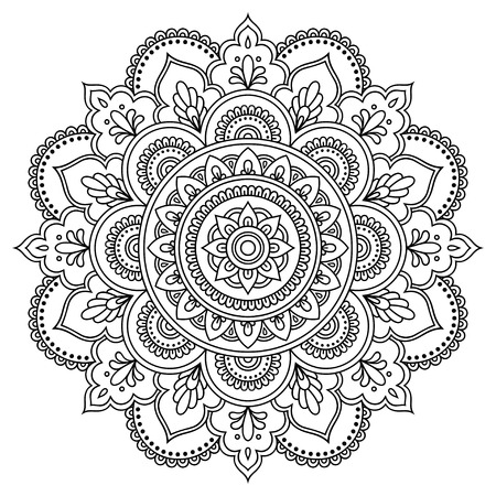 Circular pattern in the form of a mandala. Henna tatoo mandala. Mehndi style. Decorative pattern in oriental style. Coloring book page. Vettoriali