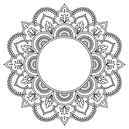 Circular pattern in the form of a mandala. Henna tatoo mandala. Mehndi style. Decorative pattern in oriental style. Coloring book page. Ilustração