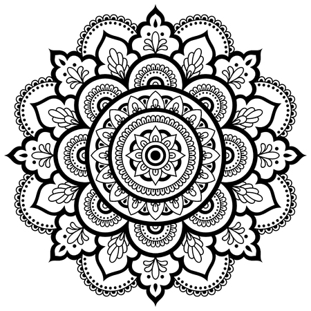 Circular pattern in the form of a mandala. Henna tatoo mandala. Mehndi style. Decorative pattern in oriental style. Coloring book page. Иллюстрация