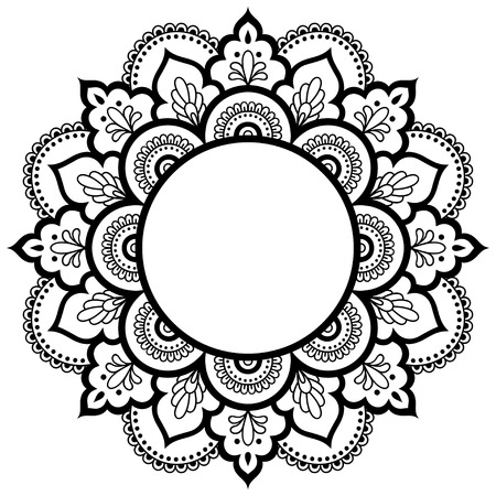 embellishment: Circular pattern in the form of a mandala. Henna tatoo mandala. Mehndi style. Decorative pattern in oriental style. Coloring book page. Illustration