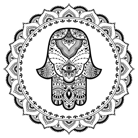 abstract flowers: Hamsa hand drawn symbol in mandala. Mehndi style. Decorative pattern in oriental style. For henna tattoos, and decorative design documents and premises.