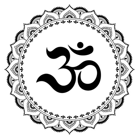 565dbc712 Circular pattern in the form of a mandala. OM decorative symbol. Mehndi  style.