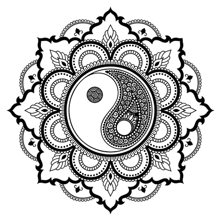tao: Circular pattern in the form of a mandala.  Yin-yang decorative symbol. Mehndi style. Decorative pattern in oriental style. Coloring book page. Illustration