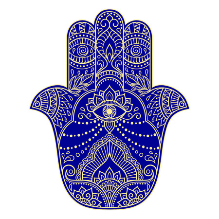 Color hamsa hand drawn symbol. Decorative pattern in oriental style for the interior decoration and drawings with henna. The ancient symbol of the