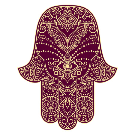 lucky charm: Color hamsa hand drawn symbol. Decorative pattern in oriental style for the interior decoration and drawings with henna. The ancient symbol of the