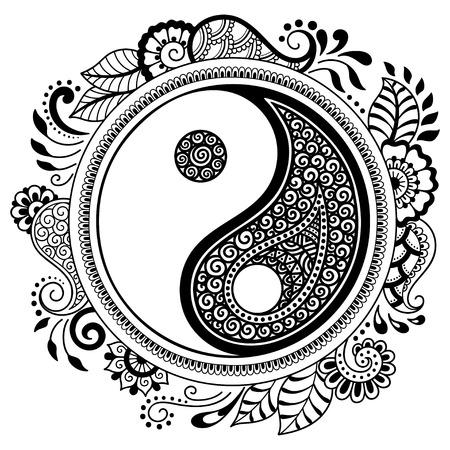 マンダラの形で円形パターン。 陰陽の装飾的な記号です。一時的な刺青スタイル。オリエンタル スタイルで装飾的なパターンは。本ページを着色し