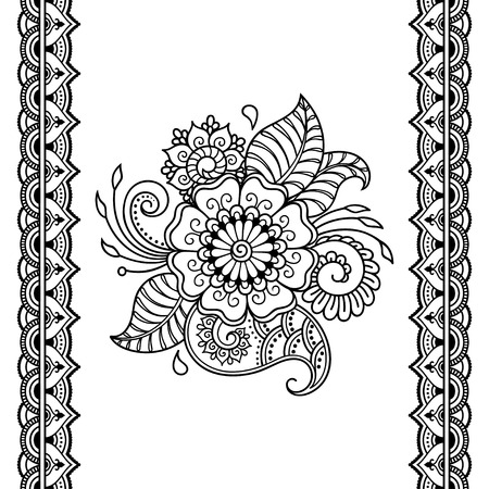 Henna tattoo flower template and seamless border. Mehndi style. Set of ornamental patterns in the oriental style.