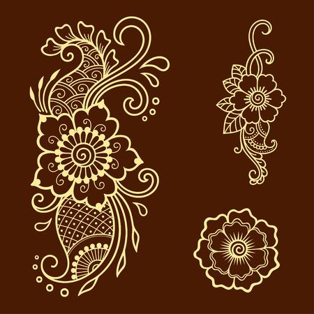 Henna tattoo flower template. Mehndi style. Set of ornamental patterns in the oriental style. Illustration