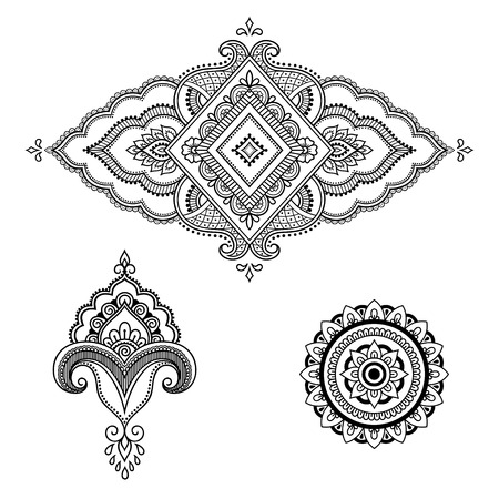 groovy: Henna tattoo flower template. Mehndi style. Set of ornamental patterns in the oriental style. Illustration