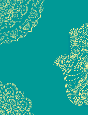 Stylized with henna tattoos color decorative pattern for decorating covers for book, notebook, casket, magazine, postcard and folder. Flower pattern in mehndi style. Frame in the eastern tradition. Mandala and Hamsa. Illustration