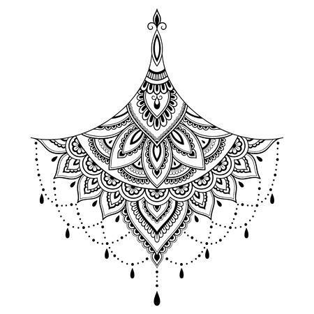 Henna tatuaż kwiatu szablonu. Styl Mehndi. Zestaw ozdobnych wzorów w orientalnym stylu. Ilustracje wektorowe