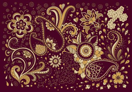 Motif d'or sur un fond rouge. Élément floral décoratif pour la décoration de cartes postales, couvertures, affiches et calendriers. Vecteurs