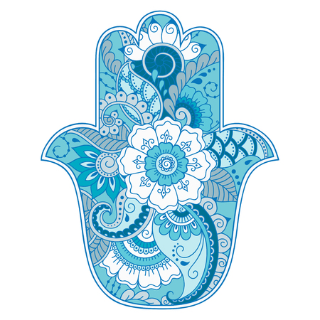 providence: Color hamsa hand drawn symbol. Decorative pattern in oriental style for the interior decoration and drawings with henna. The ancient symbol of the