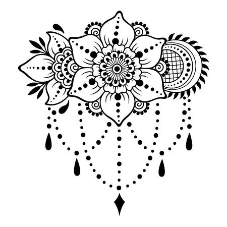 Henna tattoo flower template. Mehndi style. Set of ornamental patterns in the oriental style. Stock Illustratie