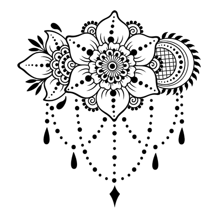 Henna tattoo flower template. Mehndi style. Set of ornamental patterns in the oriental style. Ilustração