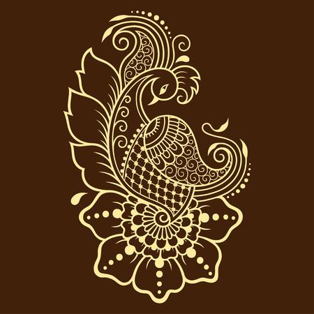 Henna tattoo flower and bird template