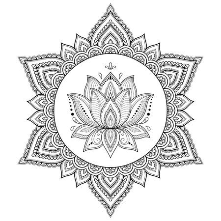 Circular pattern in the form of a mandala. Henna tatoo mandala. Mehndi style. Decorative pattern in oriental style. Coloring book page. Illusztráció