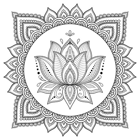 Circular pattern in the form of a mandala. Henna tatoo mandala. Mehndi style. Decorative pattern in oriental style. Coloring book page. 向量圖像