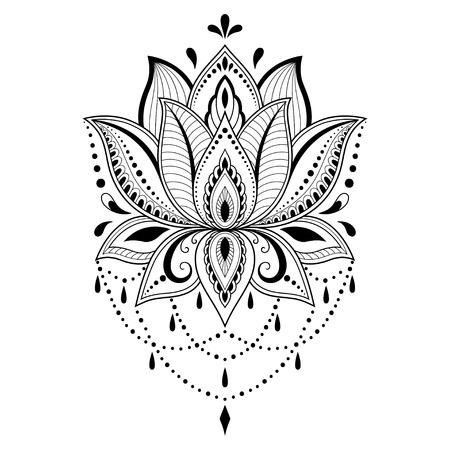Henna tattoo flower template in Indian style. Ethnic floral paisley - Lotus. Mehndi style. Ornamental pattern in the oriental style. 免版税图像 - 90531567