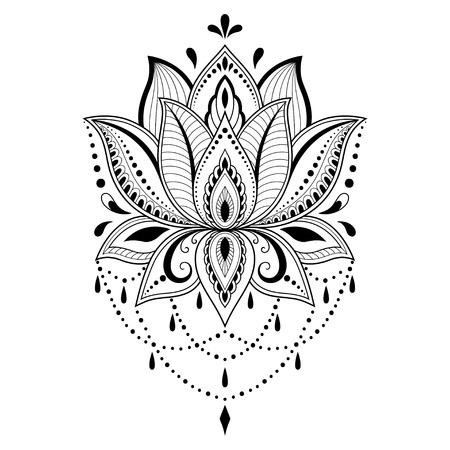 Modello di fiore del tatuaggio del hennè in stile indiano. Paisley floreale etnico - Lotus. Stile Mehndi. Motivo ornamentale in stile orientale. Vettoriali