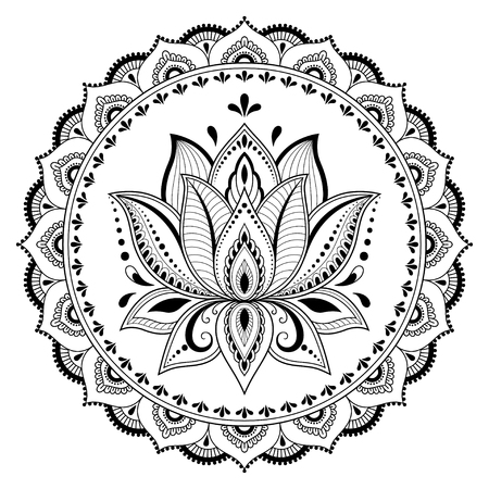 Circular pattern in the form of a mandala. Henna tatoo mandala. Mehndi style. Decorative pattern in oriental style. Coloring book page. Vectores