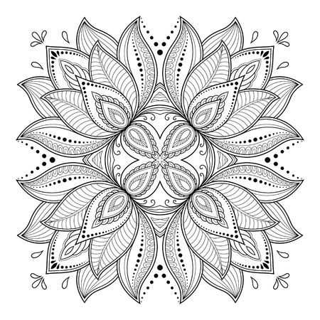 Circular pattern in the form of a mandala henna tattoo mehndi style decorative pattern in oriental style coloring book page.