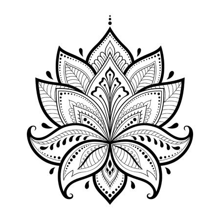 Henna tattoo flower template in Indian style ethnic floral paisley lotus mehndi style ornamental pattern in the oriental style.