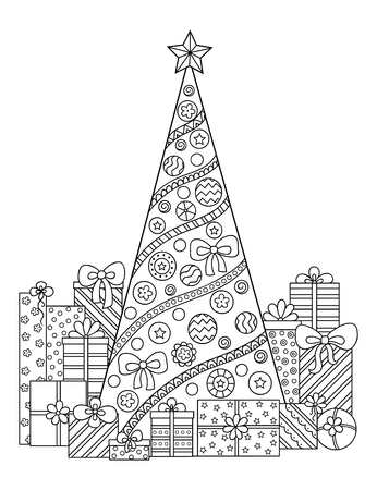 Cartoon christmas tree with gifts and delights