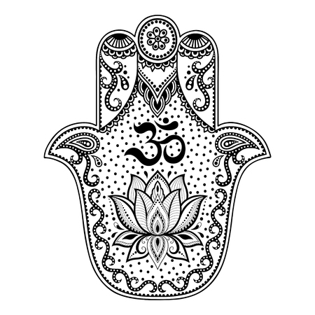 Hamsa hand drawn symbol in decorative pattern in oriental style for the interior decoration and drawings with henna. The ancient symbol of the