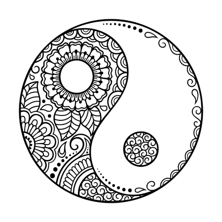 Circular pattern. Yin-yang decorative symbol. Mehndi style. Decorative pattern in oriental style. Coloring book page.