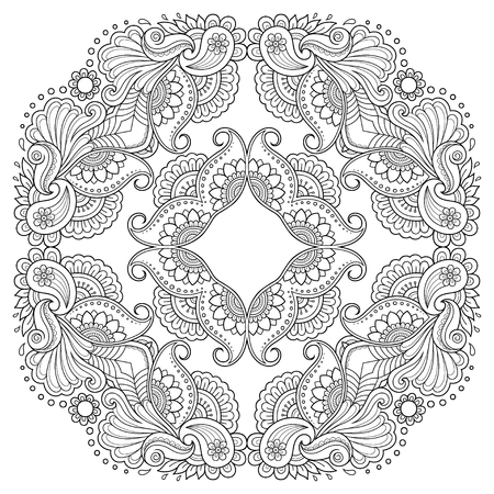 Circular pattern in the form of a mandala. Henna tatoo mandala. Mehndi style. Decorative pattern in oriental style. Coloring book page. Illustration