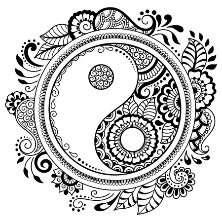 Circular pattern in the form of a mandala.  Yin-yang decorative symbol. Mehndi style. Decorative pattern in oriental style. Coloring book page. Ilustração