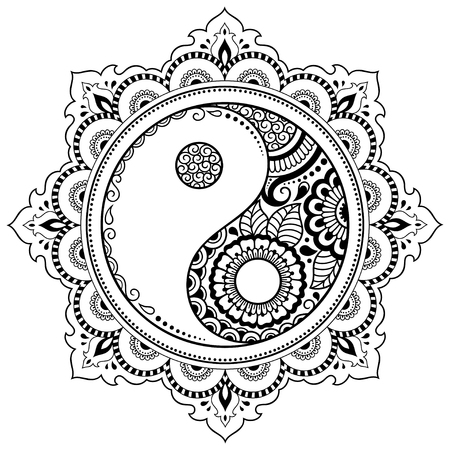 Circular pattern in the form of a mandala.  Yin-yang decorative symbol. Mehndi style. Decorative pattern in oriental style. Coloring book page.  イラスト・ベクター素材
