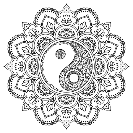 Circular pattern in the form of a mandala.  Yin-yang decorative symbol. Mehndi style. Decorative pattern in oriental style. Coloring book page. 일러스트
