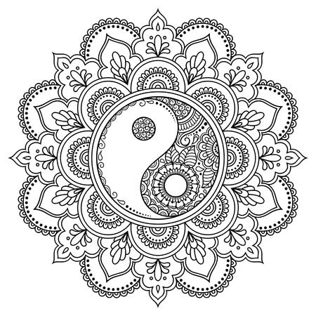 Circulair patroon in de vorm van een mandala. Yin-yang decoratief symbool. Mehndi-stijl. Decoratief patroon in oosterse stijl. Kleurboekpagina. Vector Illustratie