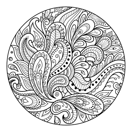 Outline round floral pattern for coloring the book page. Antistress coloring for adults and children. Doodle pattern in black and white. Hand draw vector illustration. Illusztráció