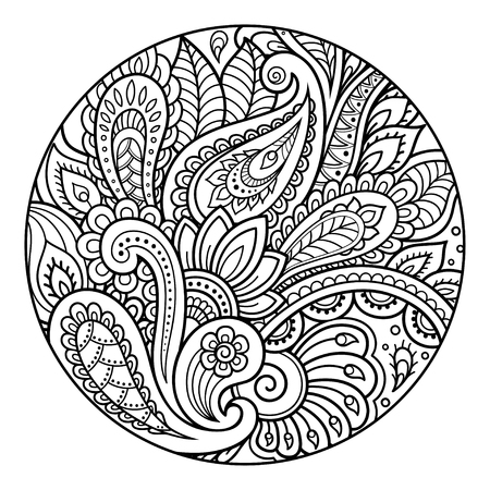 Outline round floral pattern for coloring the book page. Antistress coloring for adults and children. Doodle pattern in black and white. Hand draw vector illustration.  イラスト・ベクター素材