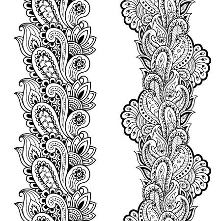 Conjunto de bordes sin costuras para diseño y aplicación de henna. Estilo mehndi Patrón decorativo en estilo oriental.