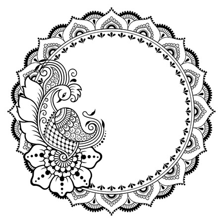 Henna tattoo flower template and patterned frame. Mehndi style. Set of ornamental patterns in the oriental style. 矢量图像