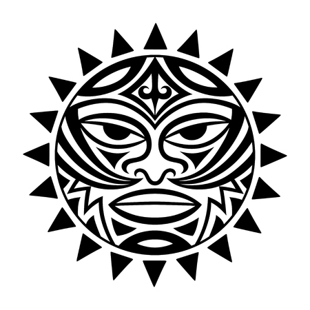 Ethnic symbol-mask of the Maori people - Tiki. Thunder-like Tiki is symbol of God. Sacral tribal sign in the Polenesian style for application of tattoos and moko. Reklamní fotografie - 96834532