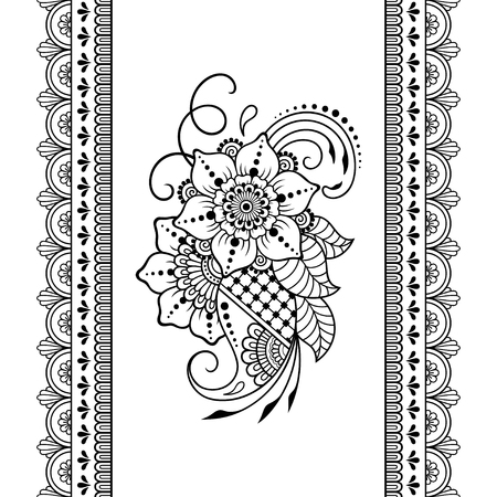 Heads Border Template | Henna Tattoo Flower Template And Seamless Border Mehndi Style