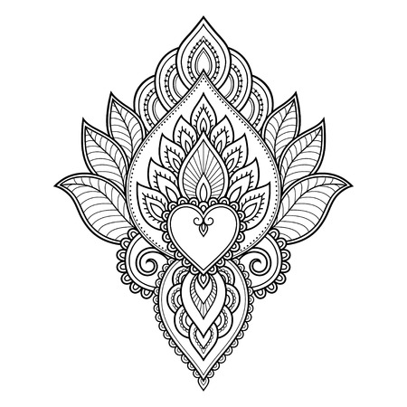 Henna tattoo flower template and border. Mehndi style. Set of ornamental patterns in the oriental style.