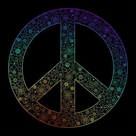 Retro sign of love, peace and pacifism hand-made in the style of doodle.
