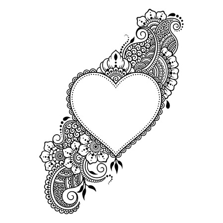 Mehndi flower pattern with heart for Henna drawing and tattoo. Decoration in ethnic oriental, Indian style.