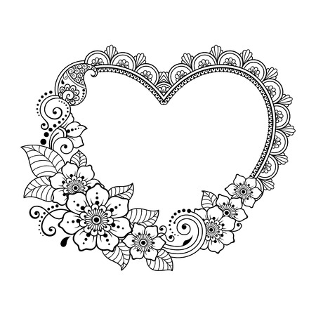 Pattern in form of heart for Henna, Mehndi, tattoo, decoration -frame. Decorative ornament in ethnic oriental style. Coloring book page. Vettoriali