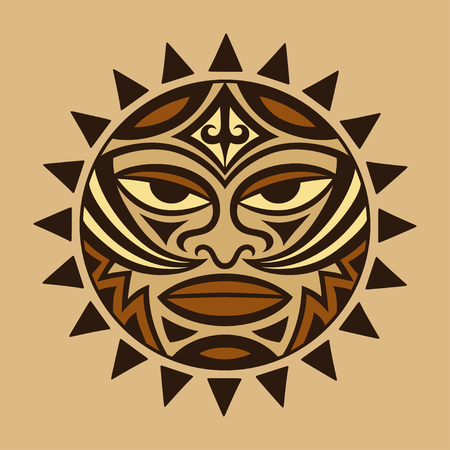 Color ethnic symbol-mask of the Maori people - Tiki. Thunder-like is symbol of God. Sacrad tribal sign in the Polenesian style for application of Tattoos and Moko.